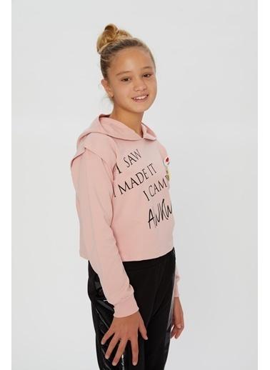 Little Star Little Star Kız Çocuk Smile Broşlu Sweatshirt Pudra